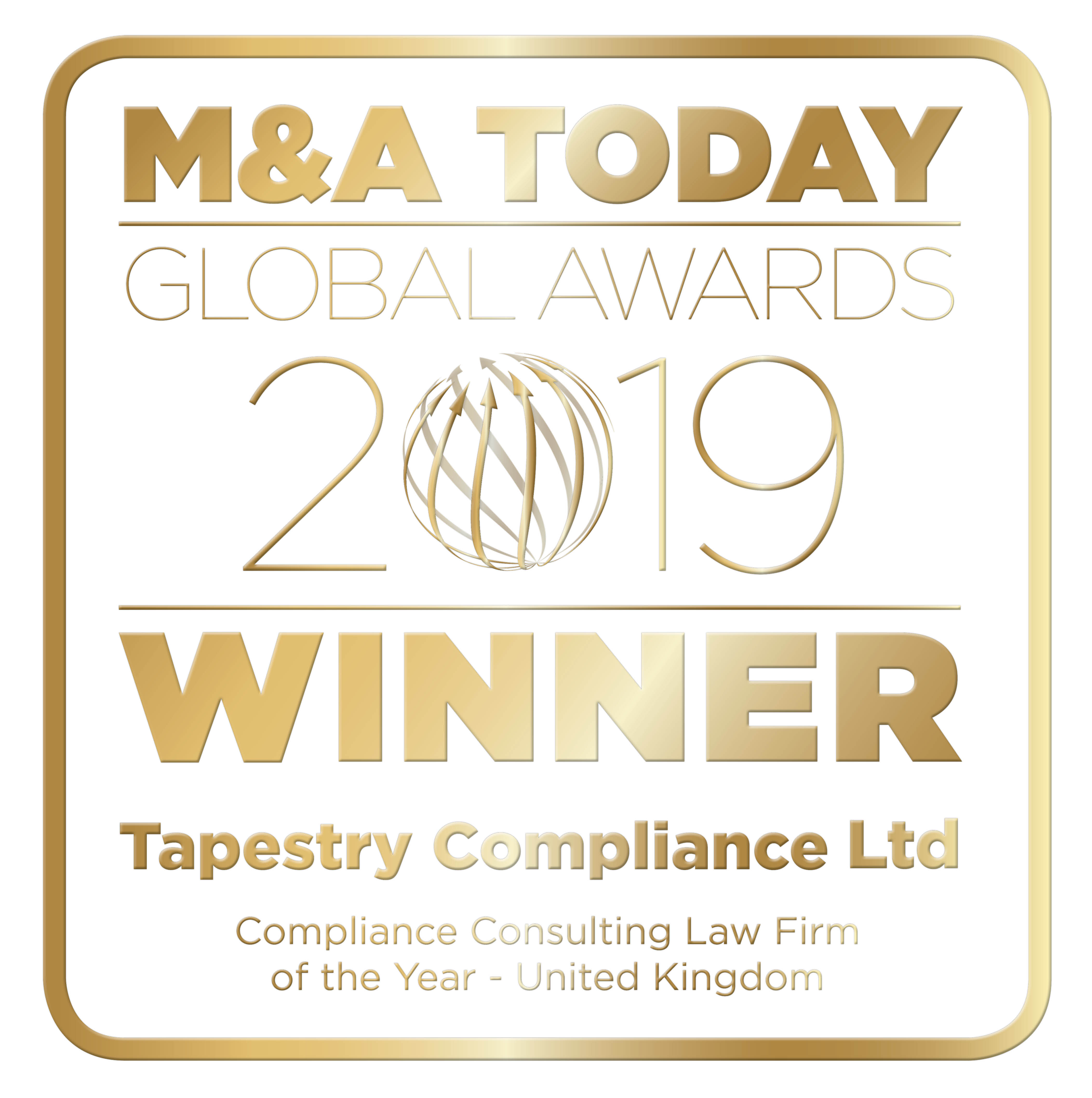 M&A Today Global Awards 2019 logo_Tapestry Compliance Ltd_v2